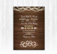 Daisy Wedding Invitation Diy Printable Digital File Or Print Extra Wood Wedding Invitation String Lights Wedding Invitation Country Invite