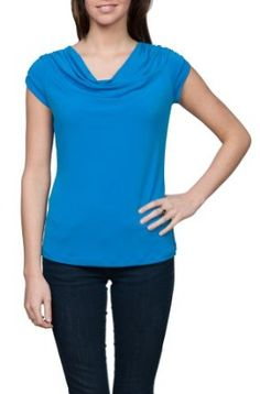 Womens Classic Short Sleeve Solid Color Top Blue Small,$16.90