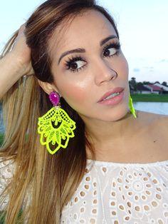 Neon and Purple Chandelier Earrings, Long Earrings, Dangle Earrings Handmade Earrings, Bold Summer Statement Earrings Funky Earrings, Lace Earrings, Lace Jewelry, Statement Earrings, Earrings Handmade, Dangle Earrings, Jewellery Box, Prom Jewelry, Gold Necklace