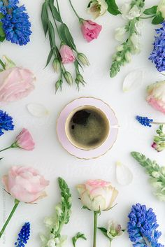 Coffee and flowers by Ruth Black