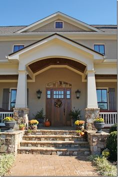 35 Beautiful Farmhouse Front Porch Steps Ideas - Page 19 of 34 Front Porch Steps, Farmhouse Front Porches, Porch Columns, Porch Stairs, Stone Columns, Front Entry, Craftsman Style Porch, Craftsman Front Doors, Craftsman Exterior