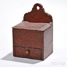 Small Red-painted Wall Box with Drawer, century, the dovetail and… Primitive Furniture, Primitive Antiques, Country Furniture, Country Primitive, Vintage Antiques, Primitive Decor, Painted Boxes, Wooden Boxes, Decorative Accessories