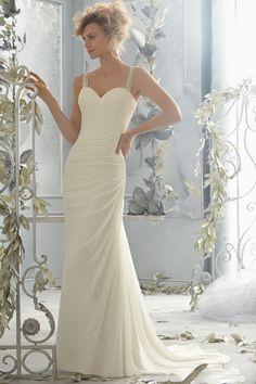 2014 Beaded Straps Sheath/Column Wedding Dress Pleated Bodice Chapel Train Chiffon