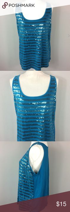 "Lane Bryant Blue Sequin Striped Tank Top 14/16 Lane Bryant Blue Sequin Striped Tank Top Womens Plus Size 14/16 Casual Stretch  Measurements are laying flat Underarm to underarm 20"" Length 25"" from shoulder to hem Please check out my other items for more sizes and styles! Lane Bryant Tops Tank Tops"