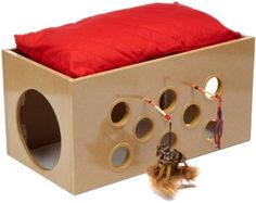 No reason something like this couldn't be made from a cardboard box:  Amazon.com: SmartCat Bootsie's Bunk Bed and Playroom for Cats: Pet Supplies