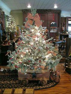 Prim Christmas tree in wagon