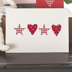 PP make fabric heart and star Christmas card