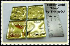 Yellow Gold Tiles Cabochons Watermark Tiles by TrinityDJBoutique Tiles, Yellow, Unique Jewelry, Handmade Gifts, Gold, Crafts, Etsy, Products, Room Tiles