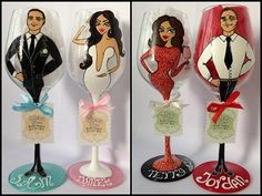 Bridal Wedding Party Hand Painted Wine Glass Party by AlenaShop, $32.00 wedding bachelor hen party goblet centre piece bridesmaid lace veil dress flowers table idea decoration mother bride groom maid if honour usher best man birthday white ivory lilac purple dog hot bikini mini hair bob lace gown maxi evening best man grooms man usher suit tie shoes