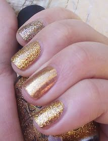 Index: OPI Bring on the Bling  Middle: OPI Gift of Gold  Ring: OPI Dazzled by Gold  Pinky: OPI Gift of Gold