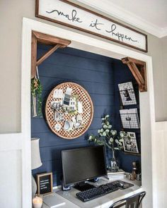 Looking for chick home office design, layout, and decor ideas? Our Home Office Ideas board is full of the best tips, tricks, and hacks for home office space organization and decor Home Office Closet, Home Office Space, Home Office Design, Home Office Decor, Home Decor, Closet Desk, Tiny Home Office, Small Office Decor, Basement Office