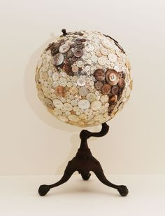 Robin Ayres – My largest button globe. All the buttons are carved mother of pearl and abalone. The buttons are all sewn on. North & South America
