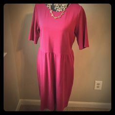 Elbow Sleeve Ponte Knit Dress Cute Garnet Hill Dress. Never worn. Size 14. 97% cotton/3% spandex. Never washed. Smoke free home. Color Beaujolais. Jewelry not included. Garnet hill Dresses Midi
