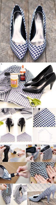 Wenn das tatsächlich so gut (und sauber) funktioniert, wie auf den Fotos gezeigt, wäre das eine sensationell gute Idee: Nie mehr die Frage nach passenden Schuhen zum Outfit, denn die könnte frau sich ganz leicht selbst fertigen!