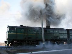 The diesel fuel and smoke from the train react with the ozone layer and deplete it.