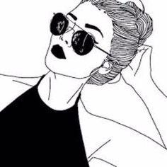 grafika outline, drawing, and black Tumblr Girl Drawing, Art Tumblr, Tumblr Drawings, Tumblr Hipster, Tumblr Girls, Hipster Girls, Easy Pencil Drawings, Outline Drawings, Cute Drawings