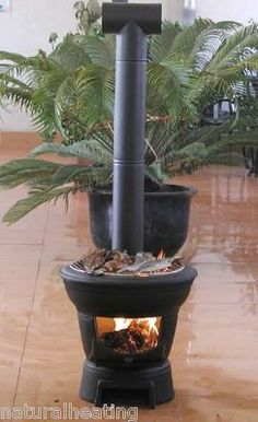 Logger BBQ outdoor patio heater chiminea camping stove with flue pipe 4 garden