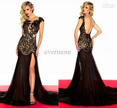This in a blue would also be amazing.   Wholesale Prom Dress - Jewel Mermaid Chiffon Floor-length Lace Prom Dress 2013 Black Cap Sleeves Backless Evening Dress