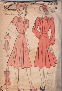 1940s Advance 2298 Misses Shirtwaist DRESS Pattern Bishop or Pleated Sleeve womens vintage sewing pattern by mbchills