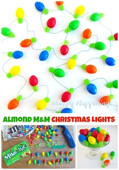 Quick and easy M&M and Mike and Ike Christmas Lights