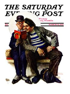 """""""Plot Thickens"""" Saturday Evening Post Cover, March 12,1927  Norman Rockwell"""