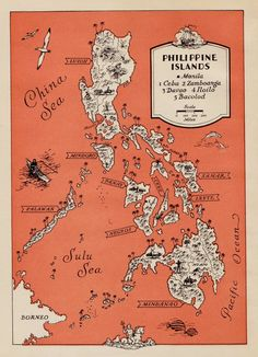 1940s Vintage Philippines Cartoon Map Philippine Islands Print Beach House Decor Gallery Wall Art Map Collector Gift for Traveler by OnTheWallPrints on Etsy