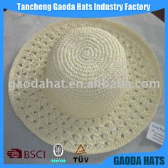 Buy Lady S Popular Design Crochet Paper In China On Alibaba.Com - Diy Crafts - hadido Diy Crochet And Knitting, Crochet Cap, Love Crochet, Baby Knitting, Crochet Hooks, Spring Hats, Summer Hats, Crochet Cowboy Hats, Crocheted Hats