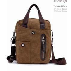 Men's Vintage Handbag Canvas Messenger Shoulder Bag Satchel Casual Cool Brown | eBay