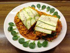 "Rohkost - Rezept für ""Zucchini - Kürbis - Lasagna mit Kaki - Paprika - Sauce"" (Vegan, Rohkost, 80-10-10)"