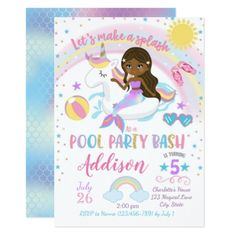 Mermaid Unicorn Pool Party Birthday Invitation