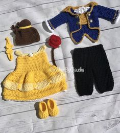 Crochet Belle Inspired Dress and PhotoProp Set/ Belle Dress/ Princess Dress/Made to Order Crochet Baby Costumes, Crochet Baby Clothes, Newborn Crochet, Crochet Dresses, Belle Inspired Dress, Belle Dress, Crochet Baby Dress Free Pattern, Crochet Photo Props, Baby Set