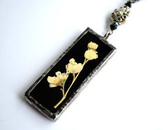 Real Flower Necklace Dried Flowers Stained Glass by BayouGlassArts, $41.00