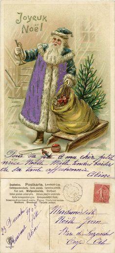 Joyeux Noël - Père Noël en manteau violet et vert avec un sac de jouets devant une maison - 1905 (from http://mercipourlacarte.com/picture?/248) Éditeur A.S.B.