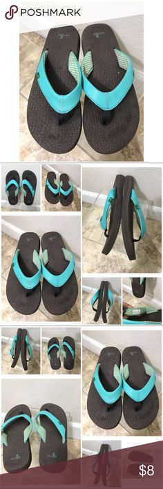 Sanuk flip flops women's size 8 turquoise upper Sanuk flip flip sandals shoes women's size 8 Sanuk Shoes Sandals