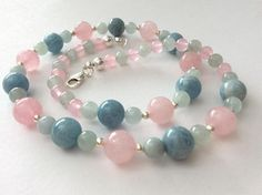 Aquamarine Rose Quartz and Sterling Silver Gem Necklace