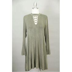 Olive Lace-Up Mock Neck Jersey Dress Thumbnail