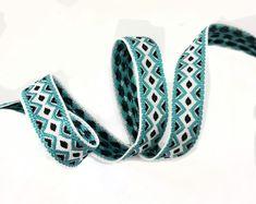 Turquoise Aztec Geometric knitted ribbon trim, Trim for embellishment 2 yards #fashioncraft #doityourself #haberdashery