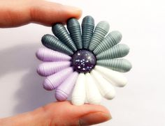 Paper flower brooch gray white light purple with glass cabochon handmade paper beads