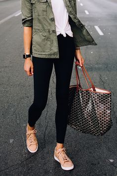 Woman Wearing Nordstrom Green Utility Jacket White Tshirt Black Leggings Nike Sneakers Beige Goyard L… Utility Jacket Outfit, Green Utility Jacket, Green Jacket Outfit, Summer Dress, Summer Outfits, Autumn Outfits, Outfit Winter, Mode Outfits, Fashion Outfits