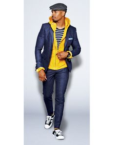 Damon Wayans JR in Hoodie, $98 by Gap. Suit by Dolce & Gabbana. T-shirt by Small Trades. Sneakers by Pro-Keds. Socks by Anonymous Ism. Hat by Bailey of Hollywood. Pocket square by Michael Bastian. Watch by Casio G-Shock.