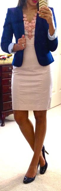H dress, H blazer...pumps from Target. Could do any color blazer with this soft pink dress:) Love the bubble necklace too.