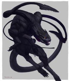 Displacer Beast - The 10 Most Memorable Dungeons & Dragons Monsters Dark Creatures, Mythical Creatures Art, Alien Creatures, Magical Creatures, Mystical Creatures Drawings, Fantasy Wesen, Fantasy Beasts, Monster Concept Art, Monster Art