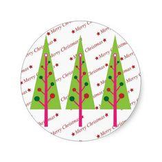 Christmas Trees Round Sticker  #Christmas #Tree #Sticker