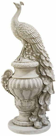 Amazon.com: Staverden Castle Peacock on an Urn Garden Statue: Patio, Lawn & Garden