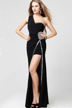 New Arrival Hot Sell One Shoulder Evening Dess 2013 Black Prom Dress