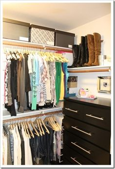 beautiful, frugal, do-able bedroom closet makeover inspiration. I love the idea of having a shelf for boots, I have 4 pairs and its very practical using space on the wall.