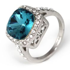Win this beautifully stunning cushion cut Swarovski Aquamarine ring from the Daily Giveaway at Bees Knees Gems