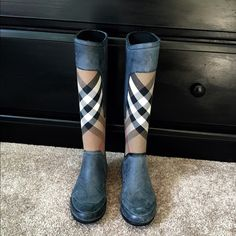 Authentic Burberry Clemence Rain Boot Authentic Burberry Clemence Rain Boot - only worn outside once!  Adorable and in excellent condition Burberry Shoes Winter & Rain Boots
