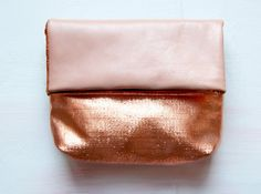 peach tangerine metallic leather clutch