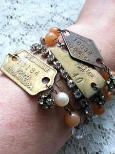 Vintage 1967 Dog Tag Bracelet with Peach by DuctTapeAndDenim, $18.00